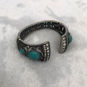 🦋CUFF🦋 turquoise & rhinestone bracelet